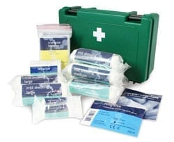 A first aid kit with the contents displayed