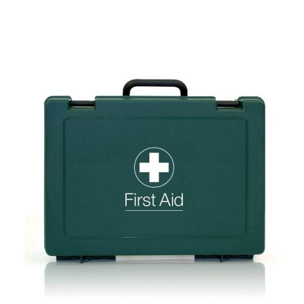 A green first aid kit with a carry handle