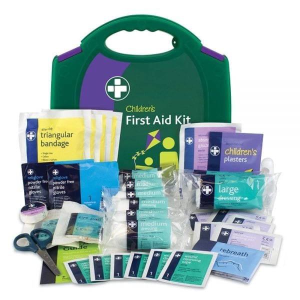 a green childrens first aid kit with all of the contents displayed