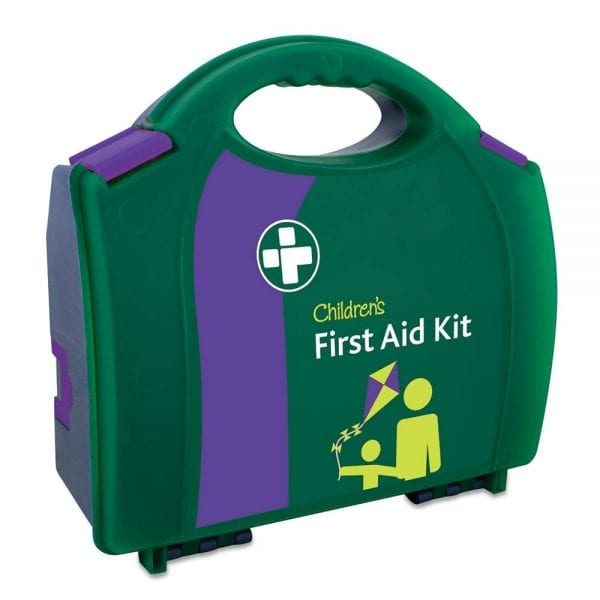 A green children's first aid kit.