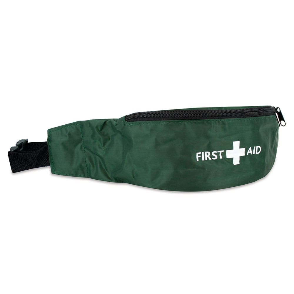 A green bumbag with the first aid logo on the front.