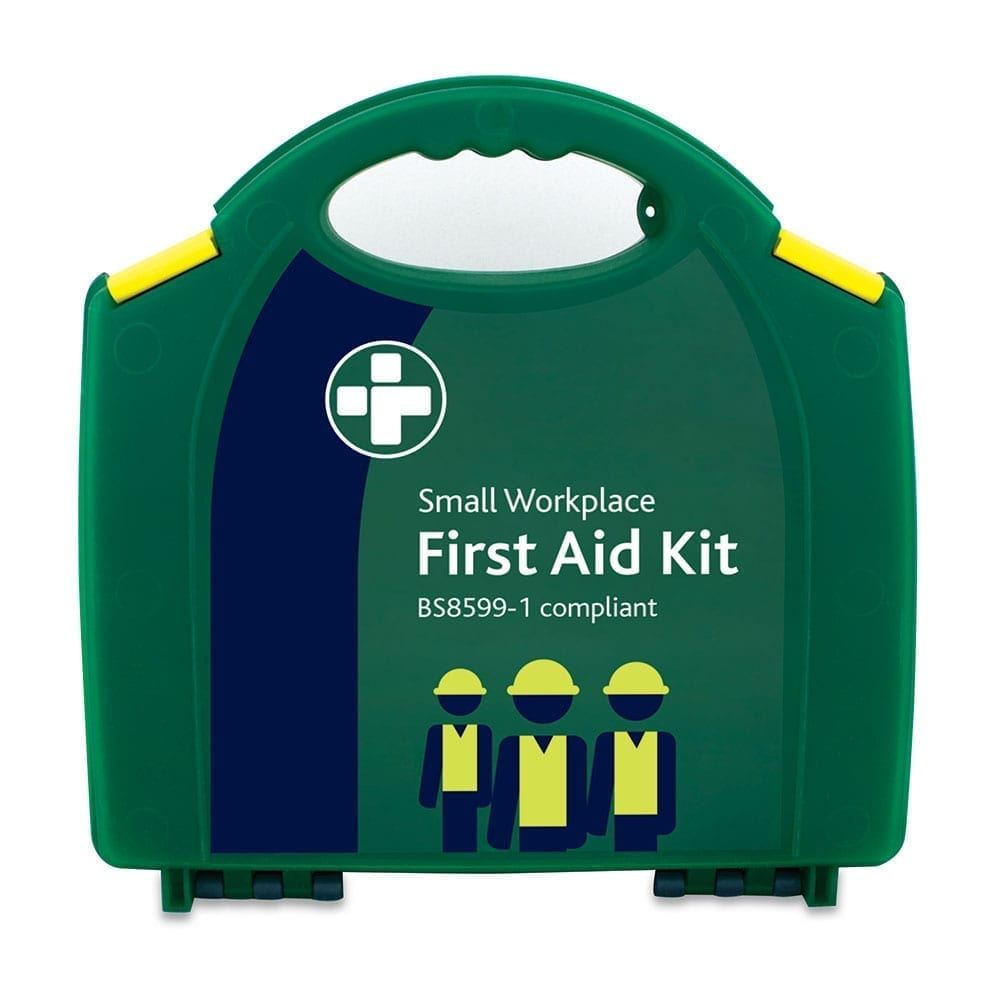 A small workplace first aid kit in green. Which is BS8599-1 compliant