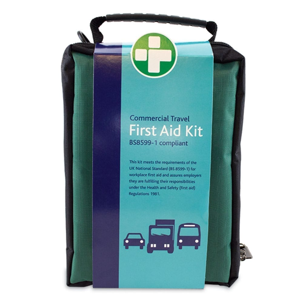 A commercial travel first aid kit in a zip up bag which is BS8599-1 compliant