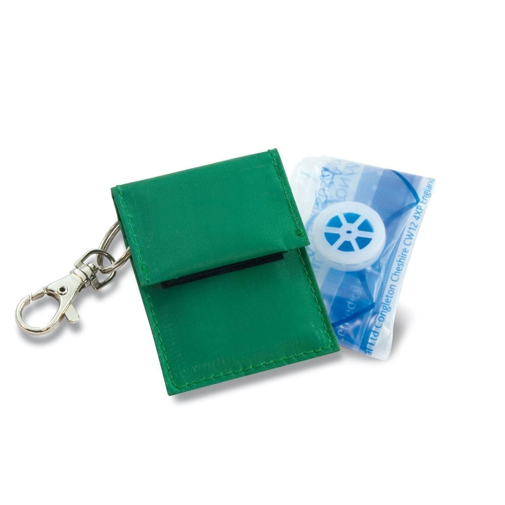 A key chain Rebreath face shield device that comes in a handy pouch.