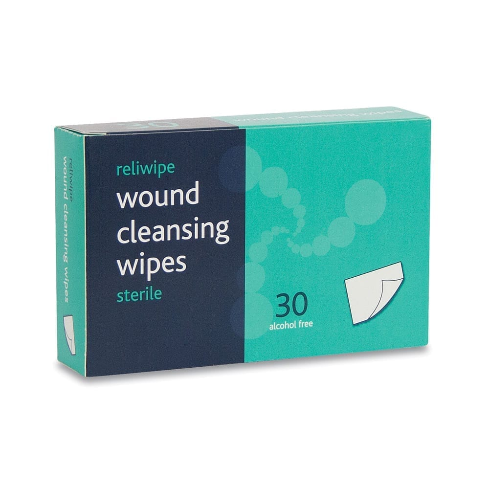 A box of 30 sterile wound cleansing wipes.