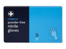 A box of powder-free nitrile gloves. 9 large pairs