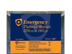 One emergency thermal blanket that is made out of a reflective material