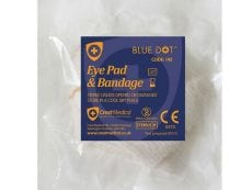 A packet containing an eye pad and a bandage