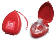 A keychain CPR face mask opened with the device showing and a picture of it closed up.