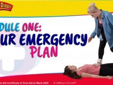 A banner for the module one training. Your emergency plan. With a lady walking up to another lady who is on the floor unconscious