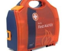 An orange burns first aid kit.