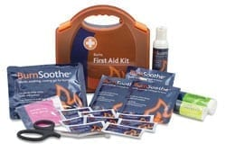 A burn kit with all the contents laid out. With burn patches, soothing bandages and sprays.