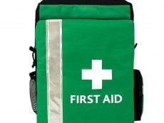 A large green evacuation first aid kit with two side pouches.