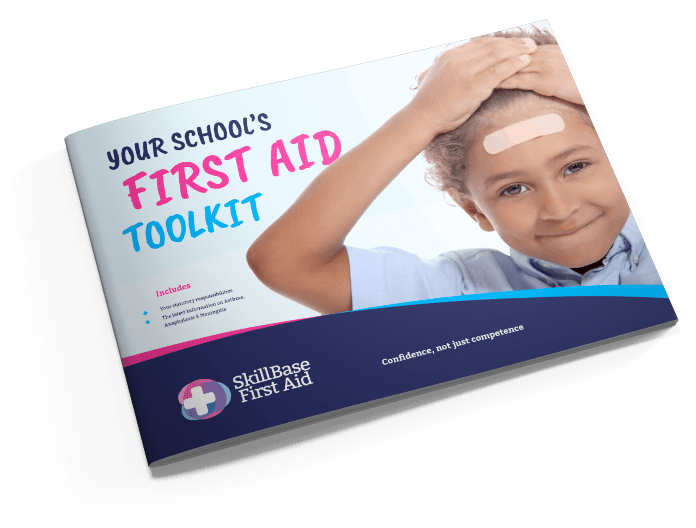 A skillbase first aid brochure with the text: Your School's First Aid Toolkit