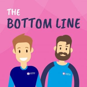 """Two cartoon men on a pink background with the text """"the bottom line"""""""