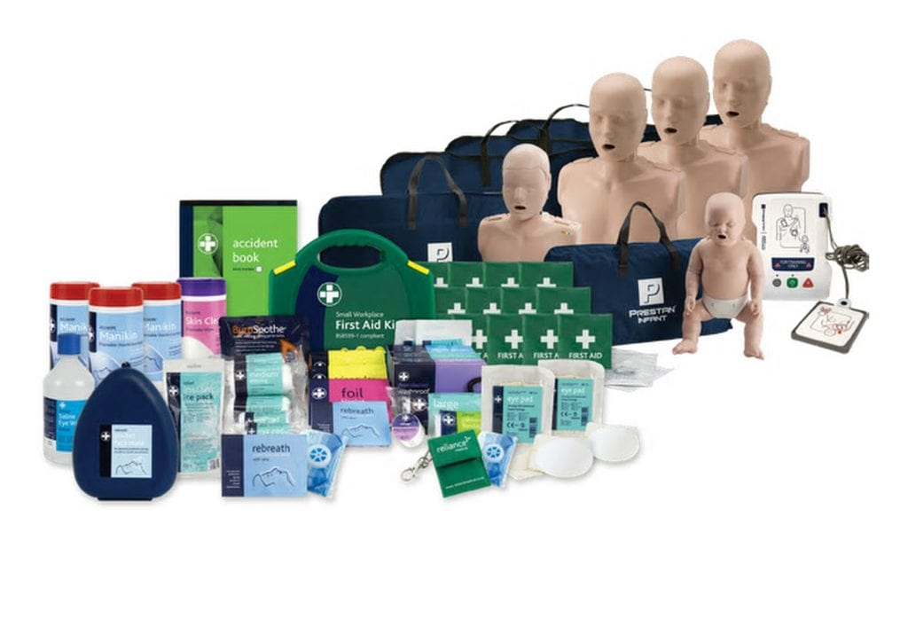 A full instructors training kit featuring 5 manikins from child to adult, a full first aid kit and extras.
