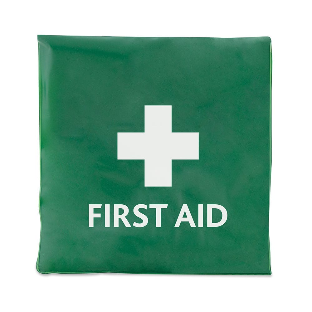 A green first aid vinyl wallet