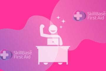 A decorative banner about happiness at work. A cartoon man sits at a desk in the middle of the image with skillbase branding.